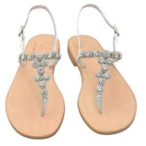 Marina Grande - Sandalo donna in pelle impreziosito da gioielli