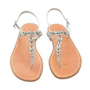 Occhiolino - Sandalo donna in pelle impreziosito da gioielli