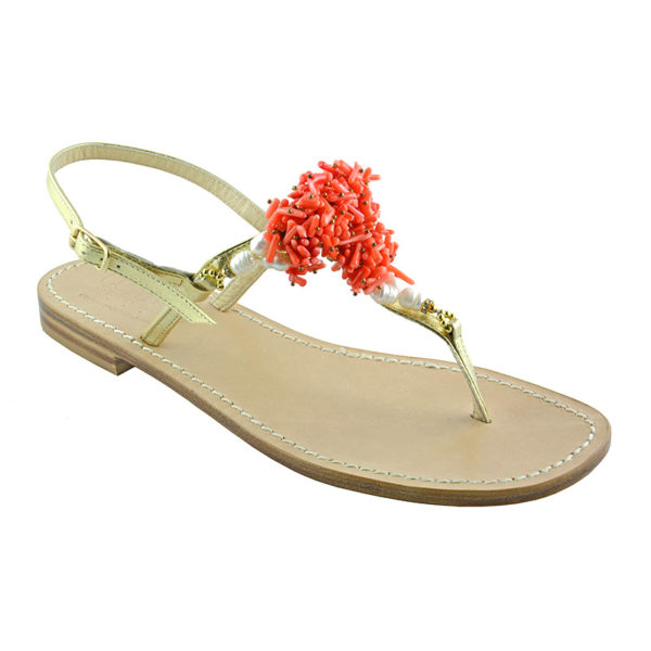 Vietri - Sandalo donna con inserti in corallo - Lato