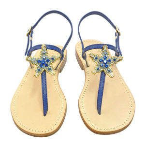 Stars - Sandalo donna in pelle blu impreziosito da cristalli duri