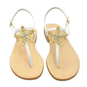 Stars - Sandalo donna in pelle bianca impreziosito da cristalli duri
