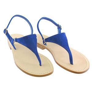 Triangolino Blu - Sandalo donna in camoscio