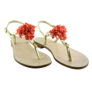 Vietri - Sandalo donna con inserti in corallo - Fronte